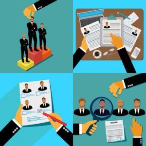 job hunters; recruitment; illustration in flat design for web sites, Infographic Design